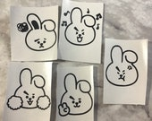 BT21 Mini Character Face Cooky Vinyl Stickers (Set of 5)