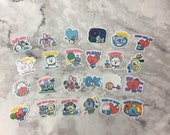 BT21 Character Small Summer Themed Stickers (48 Small Stickers, 24 unique)