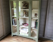 Large Old Vintage Antique Painted Glass Fronted Display Kitchen Cabinet Bookcase Linen Cupboard (Delivery is an extra cost)