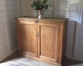 Large Antique Natural Pine 2 Door Kitchen Larder Housekeepers Hall Office Cupboard Bookcase (Delivery is Extra)