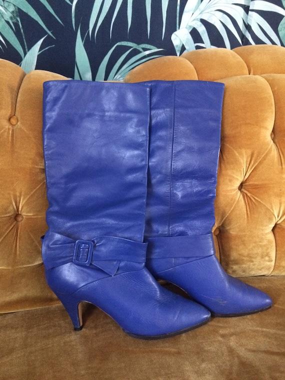 Royal Blue Leather Boots w/ kitten heel