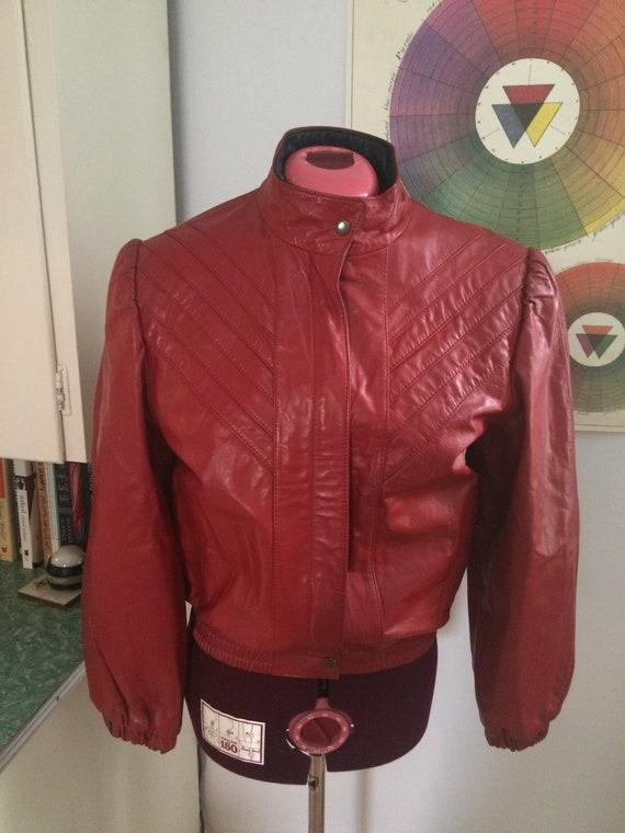 Vintage RED Leather Bomber Jacket 1980's HOT