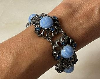 Chunky Red and Blue Glass and Rhinestone Stretch Bracelet 201819B