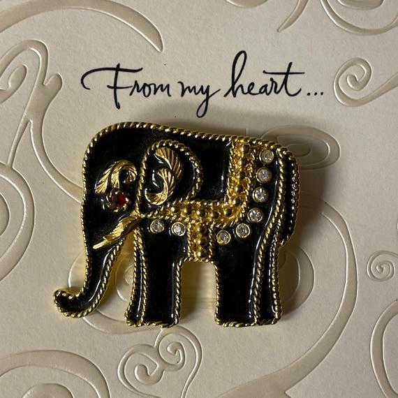 Vintage elephant pin with rhinestones /& Bakelite tusk