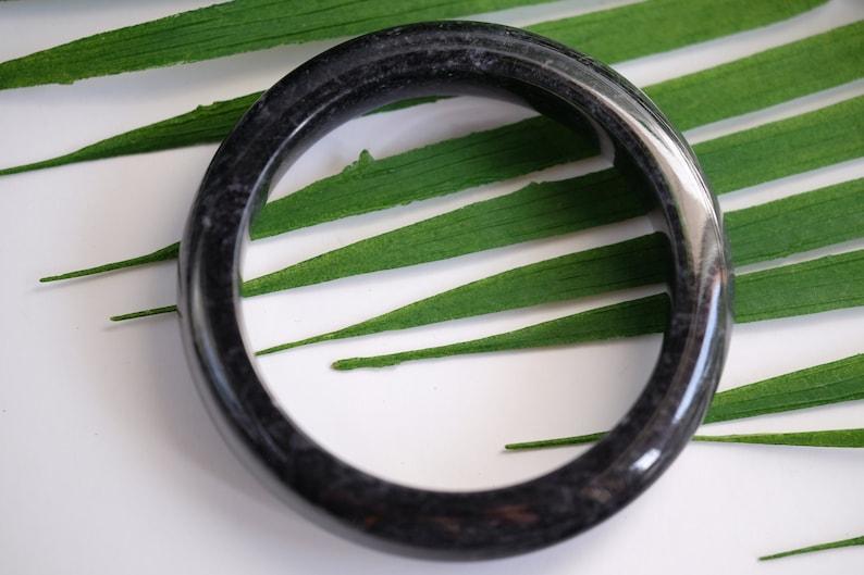 11-13.5mm thick Genuine Burma Jadeite Black Myanmar Burmese Jade Bangle 60mm or 64mm