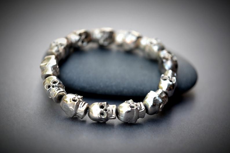 Unisex Mens Silver Skull Heavy Brass Bracelet 14mm x 9mm Large image 0