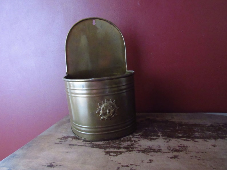 Solid Brass Vintage Wall Planter
