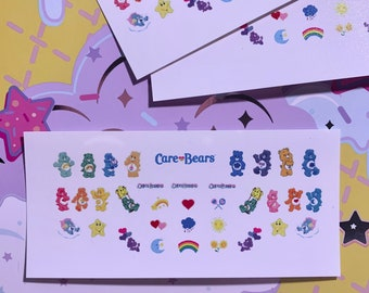 Care Bear Nail Decals WHITE BACKGROUND