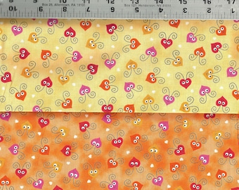 Quilting Treasures ~ Love Bugs 24239-O Orange ~ 100/% Cotton Quilt Fabric BTY