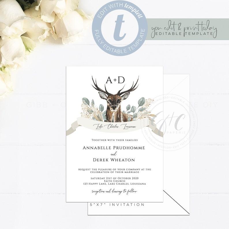 photo relating to Deer Antler Printable Template named Rustic watercolor monogram wedding ceremony invitation, deer, antlers, progressive editable invitation, printable template, Templett, drop, winter season, Edith