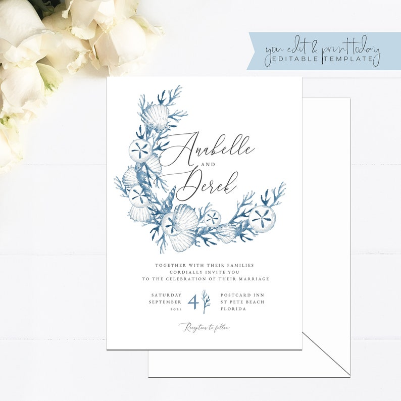 editable postcard Beach Wedding invitation set Templett printable rsvp card Blue seashells wreath details G029B Calligraphy
