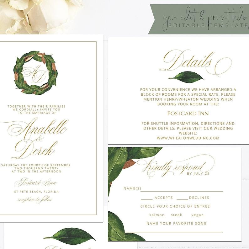 printable rsvp card G020 modern rustic details Magnolia wedding invitation set editable invitation postcard elegant Templett