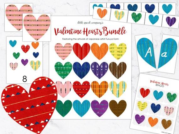 Valentine Hearts Bundle Preschool Language Math Fine Motor