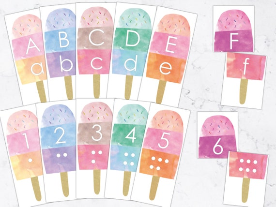 Summer Popsicles Numbers and Letters Alphabet Matching