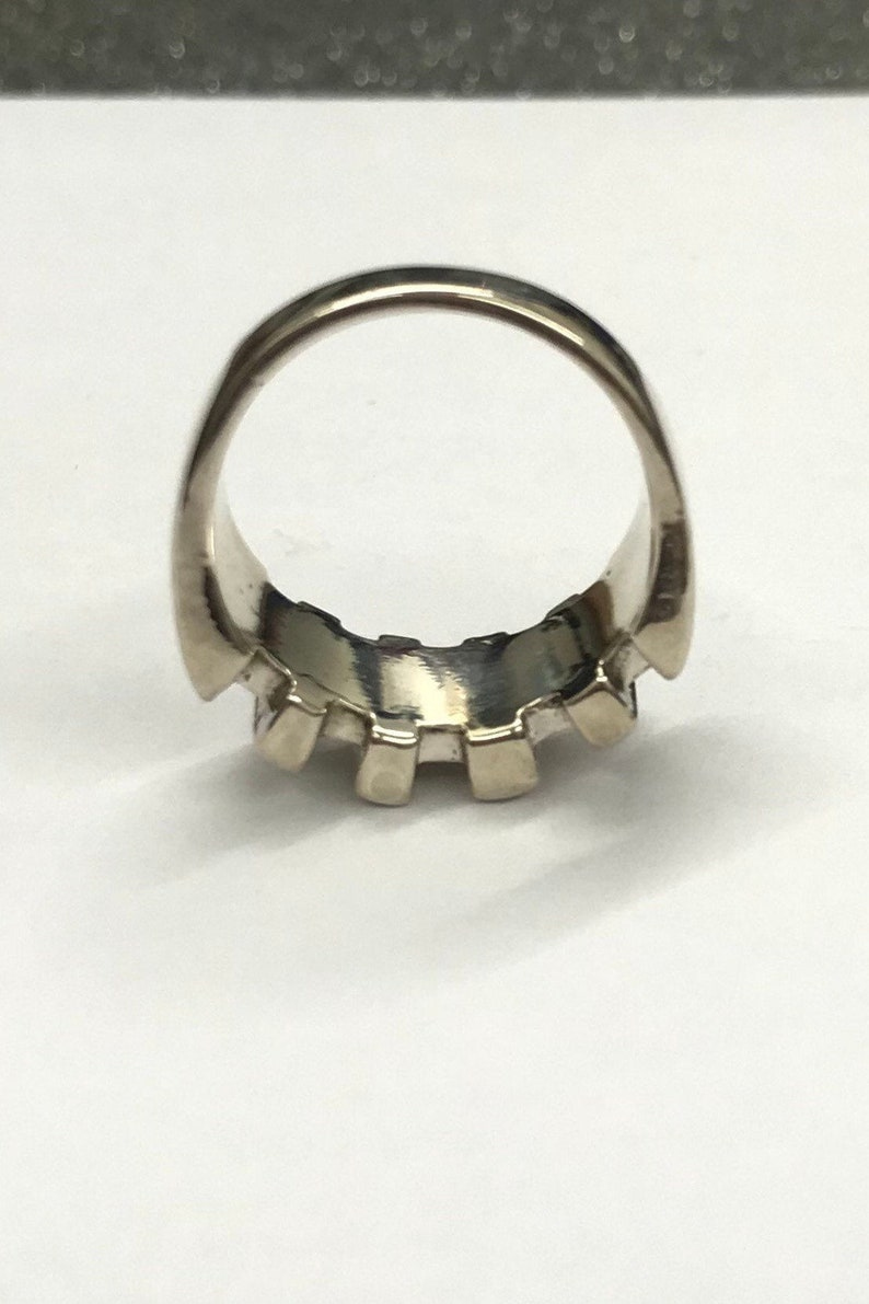 silver statement ring block ring Sterling silver 925 chunky ring