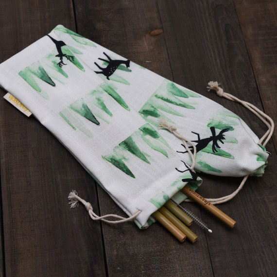 Straw Sleeve for Reusable Metal Straws Deer /& Nature Paper Straws by Strawtopia Straw Pouch 1 Straw Case Bag Holder Glass Straws
