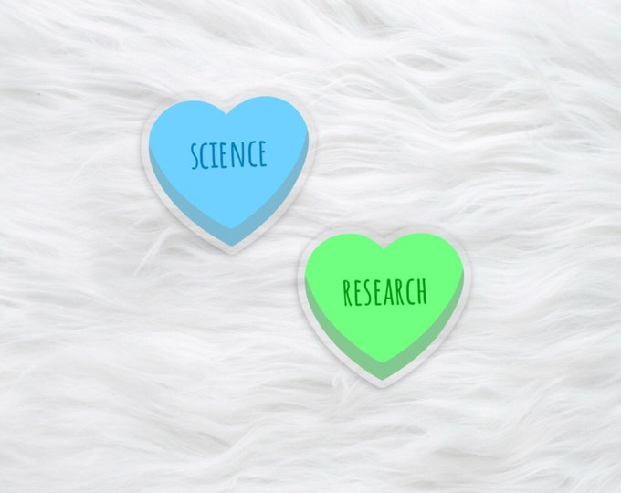 Candy Heart science water bottle sticker / laptop decal