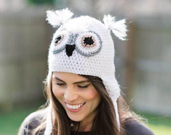 Snowy Owl Earflap Beanie