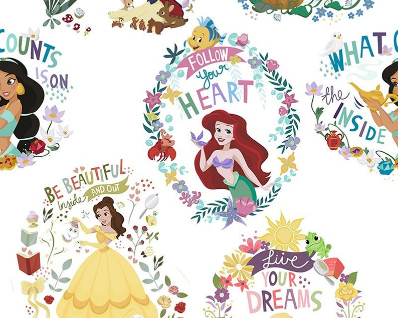 Disney Princess 100/% Cotton Fabric Material BY HALF METRE