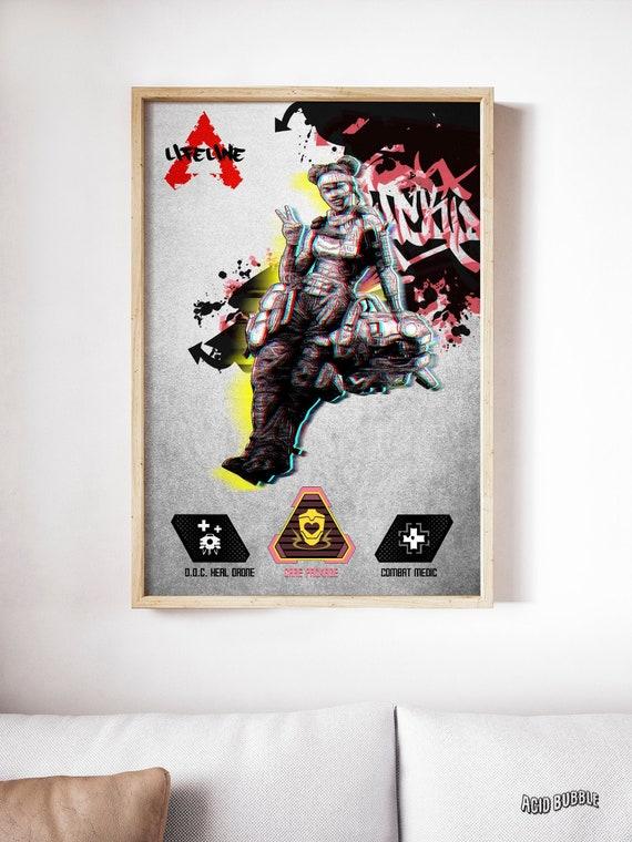 Apex Legends Lifeline Poster Wall Decor Gibraltar Bangalore Pathfinder Wraith Bloodhound Mirage Apex Legends Poster Birthday Prints