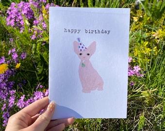 Grumpy Sphynx Cat Birthday Card