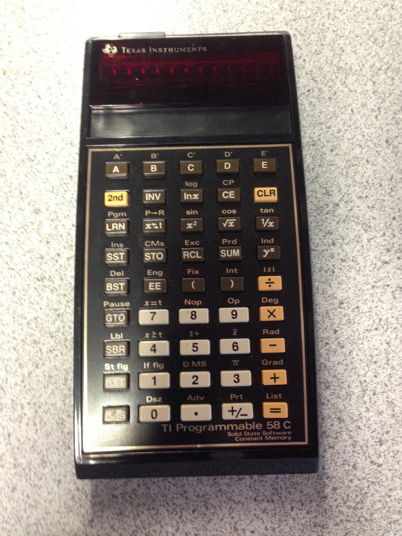 Texas Instruments Electronic Calculator TI 58C With Case