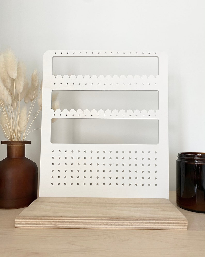White Wooden Earring Stand Earring Display