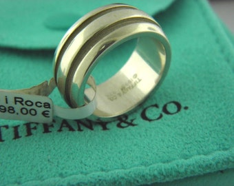 59f9b7154 Tiffany &Co Sterling Silver Wide Grooved Band RIing Circa 1995 Sz 6.25
