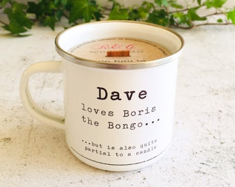Personalised Bongo Printed Enamel Mug Candle - Crackling Wood Wick - Container Candle - Camping Mug