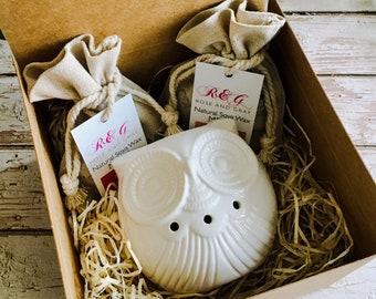 Wax Melt & Burner Boxed Gift Set - Starter Set - Baby Owl - White