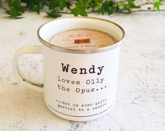 Personalised Opus Printed Enamel Mug Candle - Crackling Wood Wick - Container Candle - Camping Mug