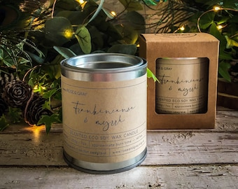 Frankincense & Myrrh Scented Candle  | Quality Paint Pot Container Candle | Eco Soy Wax Candle | Handmade in UK | Seasonal Scent | Christmas