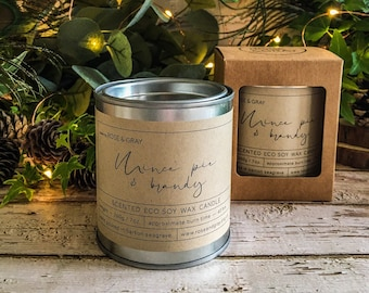 Mince Pie & Brandy Scented Candle | Quality Paint Pot Container Candle | Eco Soy Wax Candle | Handmade in UK | Seasonal Scent | Christmas