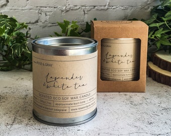 Lavender & White Tea Scented Candle | Quality Paint Pot Container Candle | Eco Soy Wax Candle | Handmade in UK