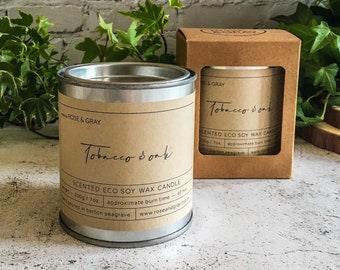 Tobacco & Oak Scented Candle | Quality Paint Pot Container Candle | Eco Soy Wax Candle | Handmade in UK