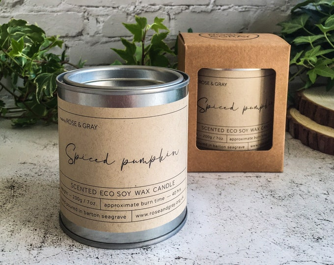 Featured listing image: Spiced Pumpkin Scented Candle   Quality Paint Pot Container Candle   Eco Soy Wax Candle   Handmade in UK   Halloween Scent