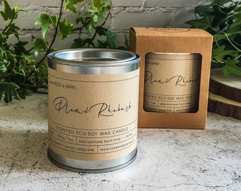 Plum & Rhubarb Scented Candle | Quality Paint Pot Container Candle | Eco Soy Wax Candle | Handmade in UK