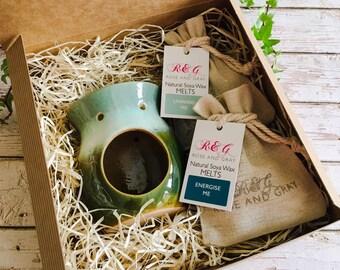 Wax Melt & Burner Boxed Gift Set - Starter Set - Rustic Dip Effect Tonal Burner - Greens