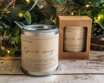 Spiced Orange Scented Candle | Quality Paint Pot Container Candle | Eco Soy Wax Candle | Handmade in UK | Seasonal Scent | Christmas