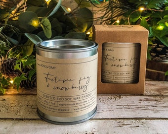 Festive Fig & Snowberry Scented Candle | Quality Paint Pot Container Candle | Eco Soy Wax Candle | Handmade in UK | Seasonal Scent