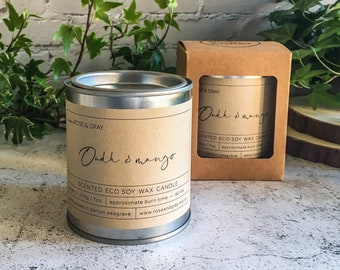 Oudh & Mango Scented Candle   Quality Paint Pot Container Candle   Eco Soy Wax Candle   Handmade in UK