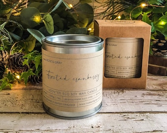 Frosted Cranberry Scented Candle | Quality Paint Pot Container Candle | Eco Soy Wax Candle | Handmade in UK | Seasonal Scent | Christmas