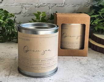 Quince Jam Scented Candle | Quality Paint Pot Container Candle | Eco Soy Wax Candle | Handmade in UK