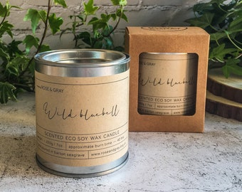 Wild Bluebell Scented Candle | Quality Paint Pot Container Candle | Eco Soy Wax Candle | Handmade in UK