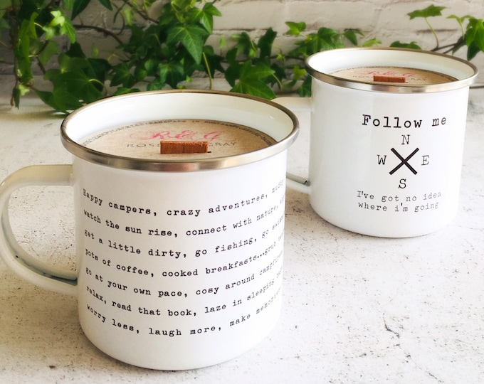 Featured listing image: Camping Design Printed Enamel Mug Candle - Citronella, Lavender & Peppermint Scent - Soy + Beeswax Blend - Crackling Wood Wick