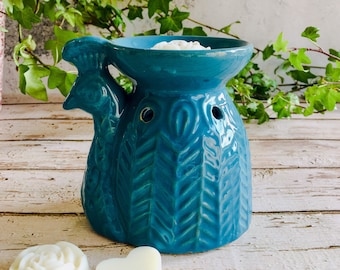 Wax Melt & Burner Boxed Gift Set - Starter Set - Peacock Ceramic Burner - Peacock Blue