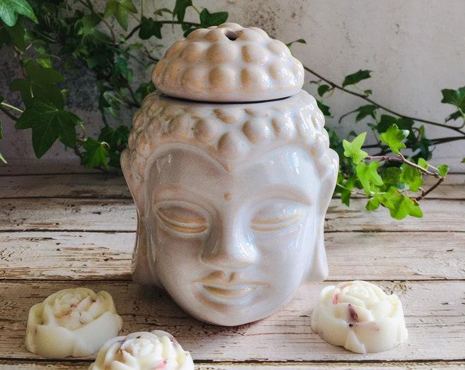 Featured listing image: Wax Melt & Burner Boxed Gift Set - Starter Set - Buddha Head Burner - White