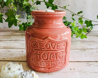 Wax Melt & Burner Boxed Gift Set - Starter Set - Home Sweet Home Ceramic Burner - Dusky Rose