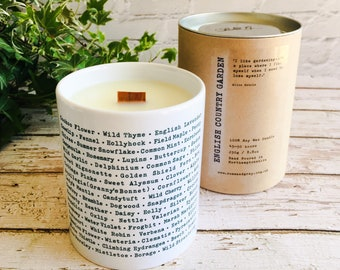 English Country Garden Scented Candle - Wildlife Garden Printed Ceramic Pen Pot - Wood Wick - Soy Wax Container Candle - Garden Lover
