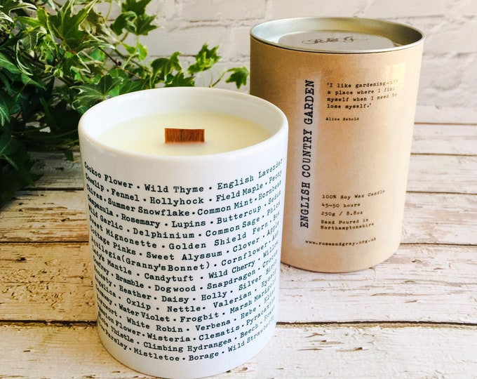 Featured listing image: English Country Garden Scented Candle - Wildlife Garden Printed Ceramic Pen Pot - Crackling Wood Wick - Soy Wax Container Candle